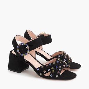 J. CREW Suede Penny Sandals Crystals Black